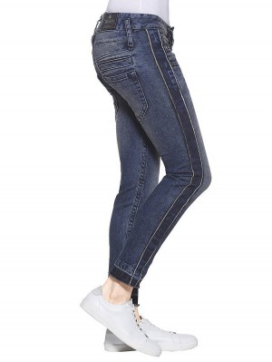 Pitch Slim Stripe Denim Stretch Jeans mit Galonstreifen mittelblauvorne