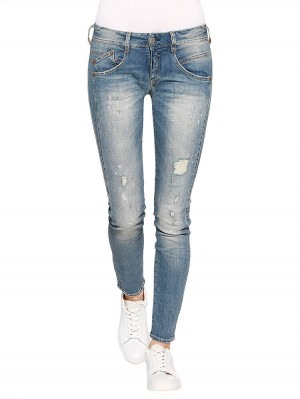 Herrlicher Gila Slim Denim Comfort + Jeans hellblau vorne