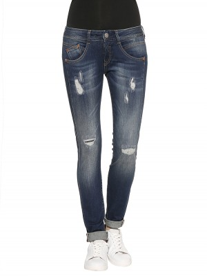 Gila Slim Denim Powerstretch Jeans dunkelblau destroyed vorne