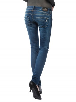 Herrlicher Piper Slim Denim Powerstretch Jeans mittelblau hinten