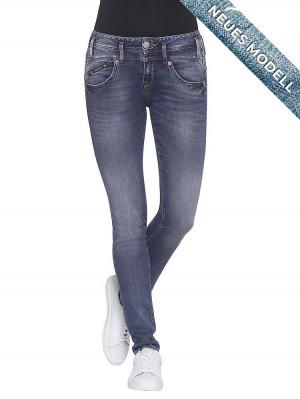 Herrlicher Pearl Slim Denim Stretch Jeans mittelblau seitlich
