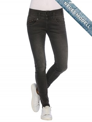 Pearl Slim Denim Black High Waist Jeans vorne