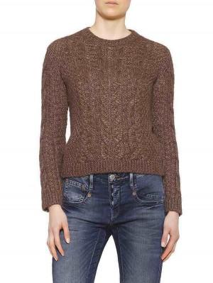 Herrlicher Juliana Woll-Mix-Pullover braun vorne