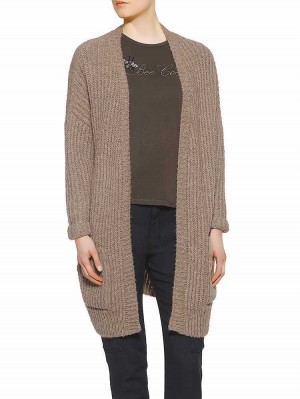 Jael Wool Mix Damen Strickjacke braunmeliert vorne