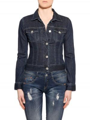 Herrlicher Joplin Denim Stretch Jeansjacke dunkelblau vorne