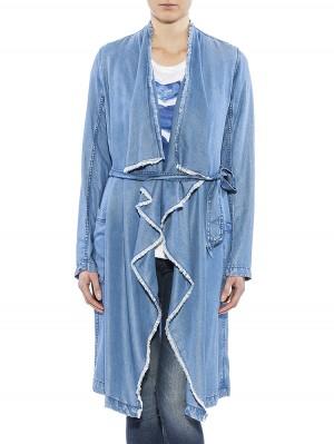 Herrlicher Dalida Denim Light Mantel blau vorne
