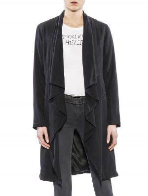Herrlicher Dalida Mantel vintage schwarz vorne