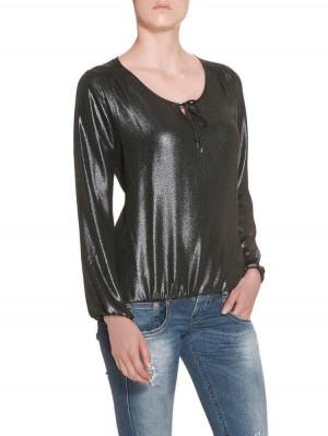 Herrlicher Leana Chiffon Glam Bluse schwarz