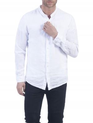 Herrlicher Ethan Linen Uni Hemd weiß vorne
