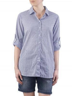 Herrlicher Liska Voile Cotton Stripe Hemd blau vorne