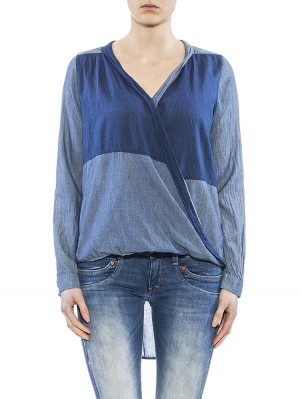 Herrlicher Philine Ultra light Denim Bluse blau vorne