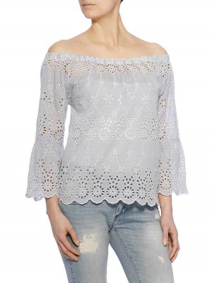 Jillien Embroidered Stripe Bluse, light blue