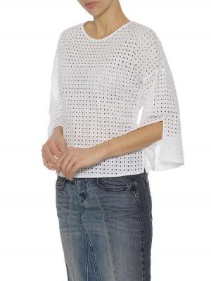 Herrlicher Zhara Baumwoll-Bluse mit Lochstickerei und Schleife