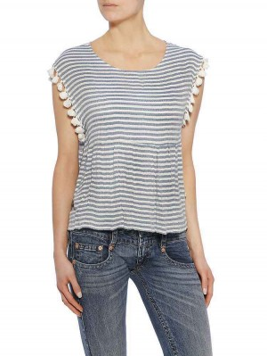 Yuriko Cotton Crepe Stripe Bluse, light blue