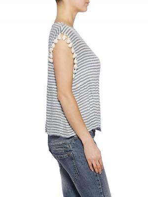 Herrlicher Yuriko Cotton Crepe Stripe Bluse
