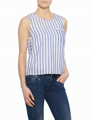 Julika Stripe Bluse, air, Modelbild vorne