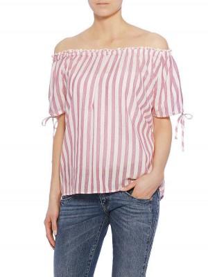 Ilona Stripe Bluse, red, Modelbild seitlich