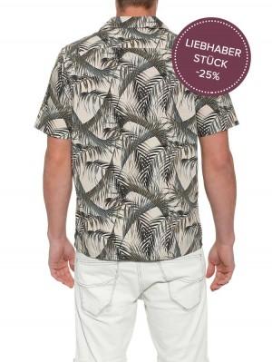 Herrlicher Resor Poplin Kurzarmhemd mit Palmenprint
