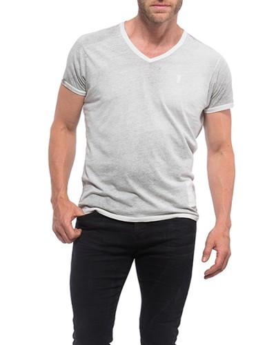 Herrlicher V-Neck Jersey T-Shirt weiß vorne