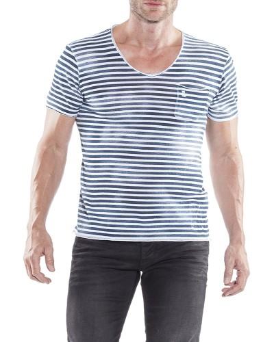 Herrlicher Robby Jersey Striped T-Shirt grauweiß vorne