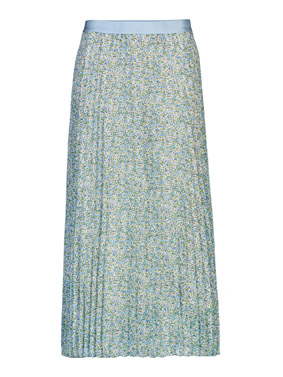 plisseerock lang gruen mit bluemchenmuster