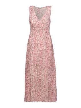 chiffonkleid aermellos plissee blumenmuster rosa