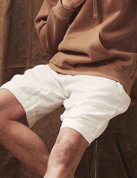 Herren Leinen Hose in weiß