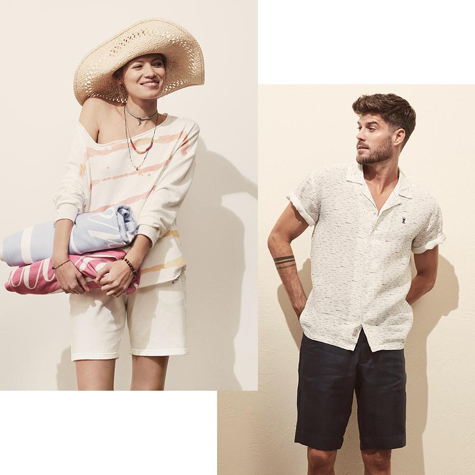 Frau und Mann in kurzen Herrlicher Hosen