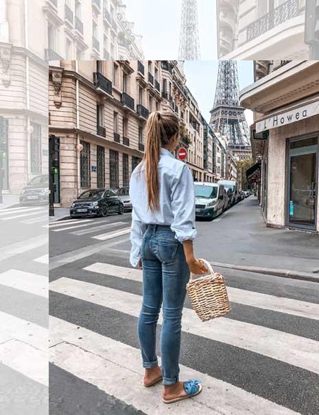 Frau in Herrlicher Jeans und Bluse