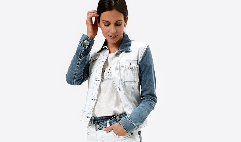 Damenjeansjacke weiß-blau