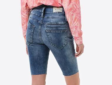 Herrlicher Damen Jeans Shorts in Blau